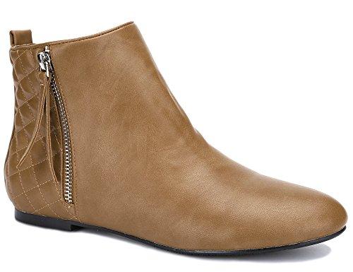MaxMuxun Damen Kurzschaft PI Stiefel Reißvershluss Flach Chelsea Boots Camel, Braun, 37 EU