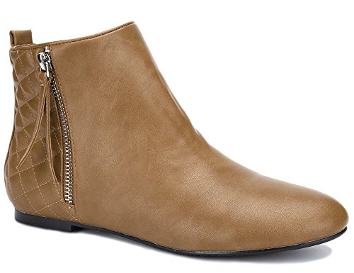 MaxMuxun Mujeres Zapatos Camel Punta Redonda Plana Tobillo Botines de tacón bajo para Damas Botas de Mujer tamaño 8 UK