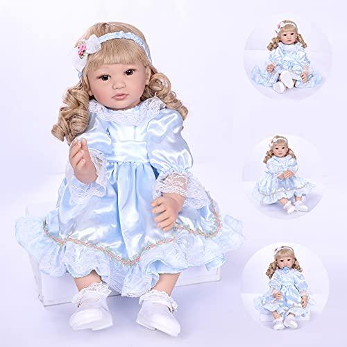 ZIYIUI Poupée Reborn 24 Pouces 60 cm Réaliste Bebe Reborn Fille Silicone Souple Vinyle Reborn Dolls Garçon Fille Jouets Bébé Reborn Pas Cher Cadeau de Noël