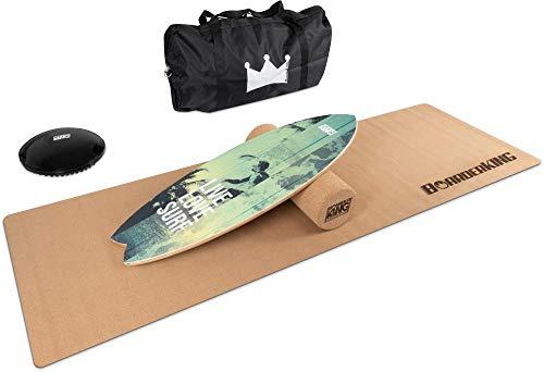 BoarderKING Indoorboard MEGA Bundles Balance Board Skateboard Surfboard Balanceboard (Wave Green 150mm)