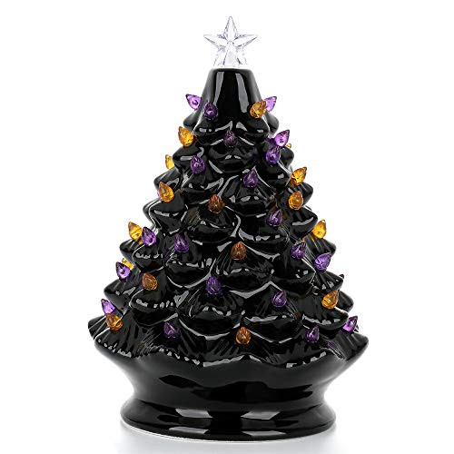 YIREAUD Ceramic Christmas Tree, Multicolor Bulbs Halloween Tree, Forever Lighted Holiday Centerpiece