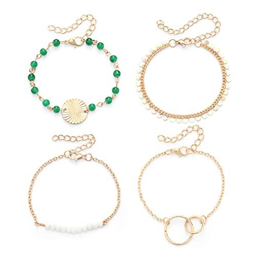Ushiny Lot de 4 bracelets bohémiens avec pampilles dorées et turquoises - Pour femme et fille