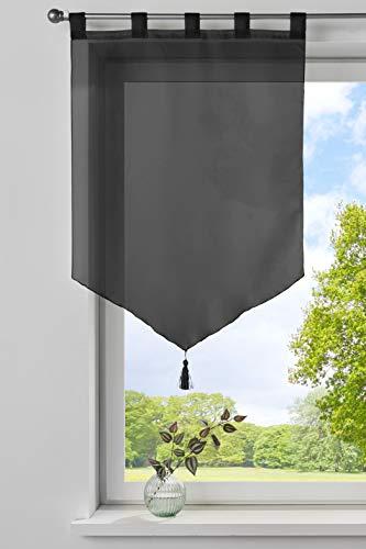 Gardinenbox Scheibengardine »Lyon« Quaste Modern Zeitlos Voile Küchenfenster Sichtschutz HxB 90x60 cm Schwarz Scheibenhänger Spitzpanneaux, 10000333