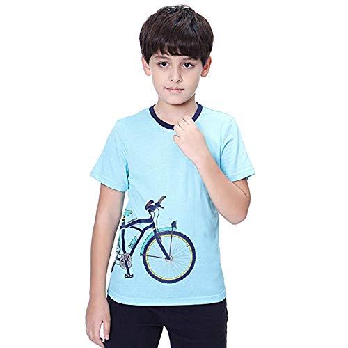 KID1234子供服 tシャツ キッズ ティーシャツ 男の子 女の子 半袖 カットソー ボーイズ 半袖tシャツ カジュアル 自転車柄 刺繍 可愛い 長袖上着 ジュニア ベーシックシャツ 男女兼用 アウトドア 通園 通学 部屋着 4-12歳 ブルー 110