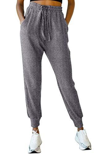 EVELIFE Pantalons de survêtement pour Femmes Élastique Taille Haute Pants avec Poche Casual Running Jogging Pantalon de Training(Gris_M)