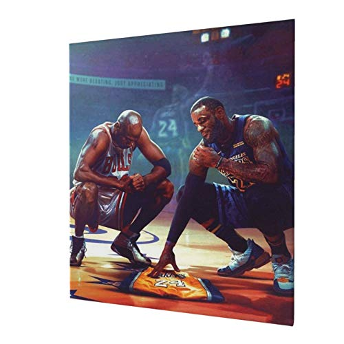 IYIFOO James and Jordan Mourning to Kobe'S Jersey Giclee Prints On Canvas Wall Art Large for Living Room Bedroom Bathroom Home Decor Ready to Hang 20x24 Inch