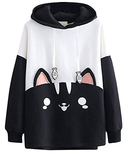 Cosplay Anime Bunny Emo Girls Sweater Hoodie Ears Costume Panda Cat Emo Bear Jacket T Shirt Top Shirt (Black Cat T)