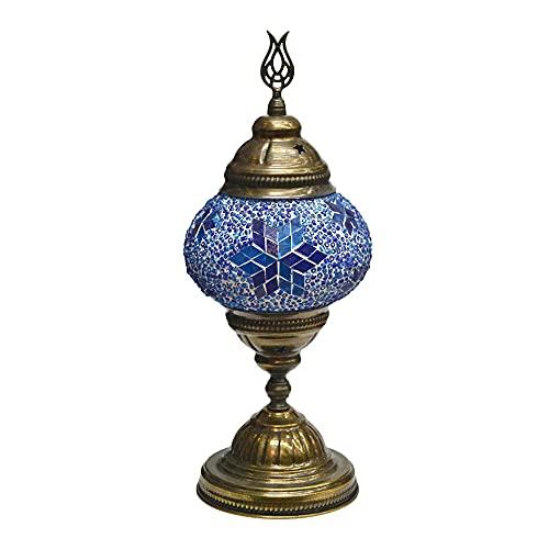 Horus Artesanía de Egipto Lámparas de Mesa y Noche Mosaico Turco Estilo marroquí Pantalla de Globo Azul único tulipa de Colores [Clase de eficiencia energética A+++]