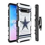 Moriko Case Compatible with Galaxy S10 Plus [Armor Layer Drop Protection Shockproof Kickstand Holster Combo Black Case] for Samsung Galaxy S10 Plus S 10+ (2019) - (Cowboy)