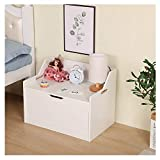 Wotryit Wooden Toy Chest, Sturdy Wooden Chest,Lift Top Entryway Storage Chest/Bench with 2 Safety Hinge Wooden Toy Box Kids' Storage Chests & Trunks