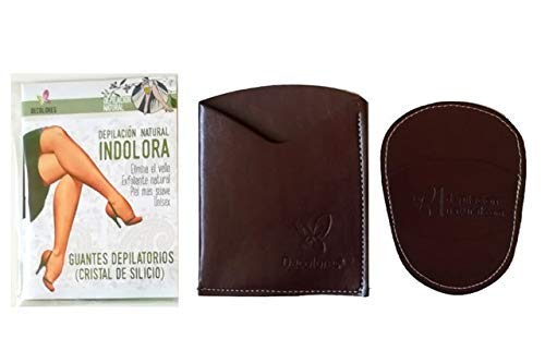 Decolores, depilación natural e indolora para el cuerpo, ideal para el cuidado de la piel 10 discos de recambios de mineral de silicio. Guante y estuche en color Burdeos