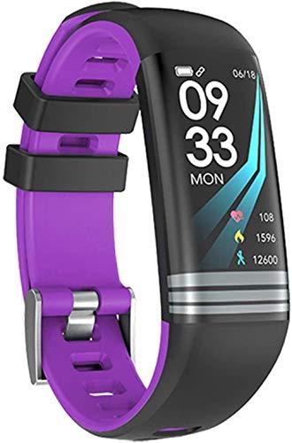 Fitness Mujeres Reloj Inteligente Hombres Podómetro Monitor de Frecuencia Cardíaca Presión Arterial Bluetooth Ejecución Reloj Deportivo Para Android IOS-Púrpura