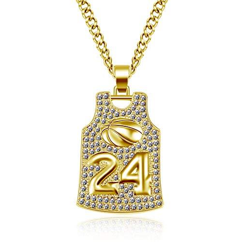 YUNMENG Bling Bling Jersey Cz Zirkon Basketball Halskette Promi Halskette Steampunk Kette Hip Hop Anhänger Halskette für Frauen Männer Geschenk