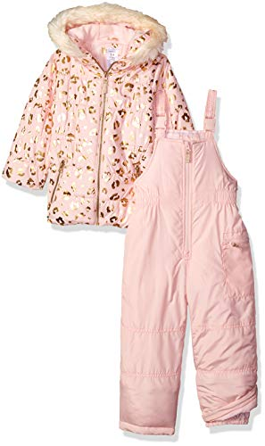 Carter's Girls' Little Heavyweight 2-Piece Skisuit Snowsuit, Leopard Light Pink, 5/6