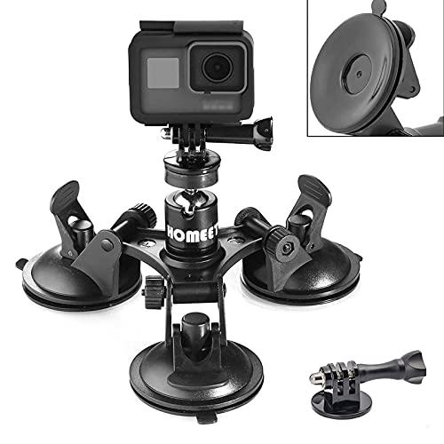 Homeet Super Auto Saugnapfhalterung Kamera Saugnapf Stativ Action Kamera Saugnapf 1/4\'\' Kugelkopf 360 Grad Drehende für Kamera Camcorder Saugnapfhalter