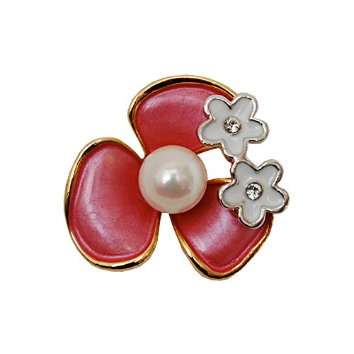 [enyapearl] アコヤ真珠 ピンブローチ お花のデザイン パール ブローチ (赤)