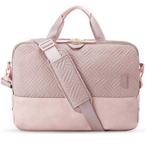 Laptop Bag for Women,BAGSMART 15.6 Inch Laptop Case Computer Bag Briefcase for Ladies,Pink