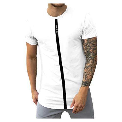 Realde Herren Kurzarm Top Sport Rundhals Ausschnitt Slim Fit T-Shirt Unterhemden Einfarbig Muskelshirt Fitness Oberteile Männer Atmungsaktiv Bequem Oberteil