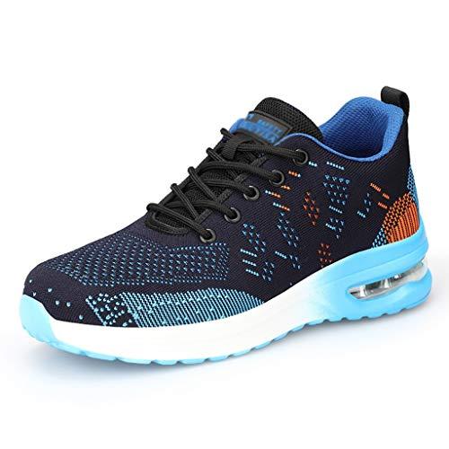 ZYFXZ Zapatos de trabajo de tejido volando ultra liviano de los hombres, tapa de punta de acero con cojín de aire para acariciadores de seguridad, prueba de punción calzado industrial transpirable zap