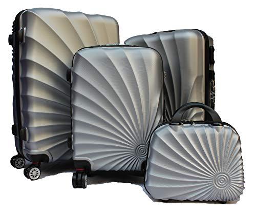 R.Leone Valigia da 1 pezzo Fino a Set 4 Trolley Rigido grande, medio, bagaglio a mano e beauty case 4 ruote in ABS 2092 (Aegento, Set XS S M L)