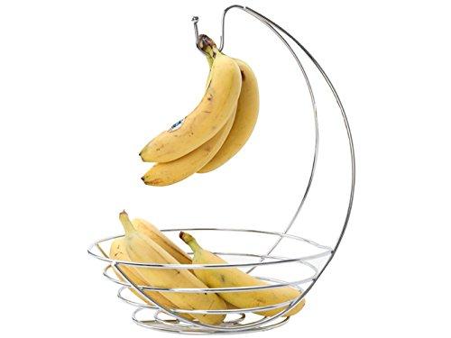 Fusion Chrome Fruit Bowl Basket with Banana Hanger Tree Holder Fruit Storage Bowl Stand Hook Base Banana Hammock