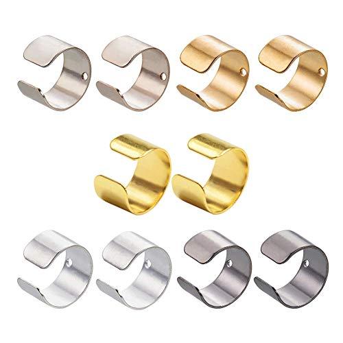 PandaHall Elite 200pcs 5 Colors Brass Ear Cuff Ear Clip Wrap Earring Clip On Earrings with 1mm Hole for Non Pierced Ears, Jewelry Making Accessay