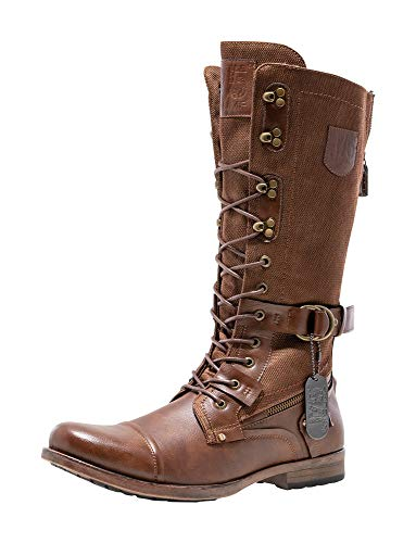JUMP J75 Men's Decoy Stylish   Light Weight   Knee Hight   Cap-Toe   Lace-up & Inside Zipper   Combat   Tactical   Army   Police   Military Boots for Men Tan