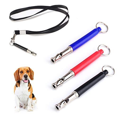 3 fischietto per cani con cordino, nucleo in rame ad ultrasuoni con frequenza regolabile, per addestramento di cani per richiami e smettere di abbaiare, dispositivi deterrenti per abbaiare cani