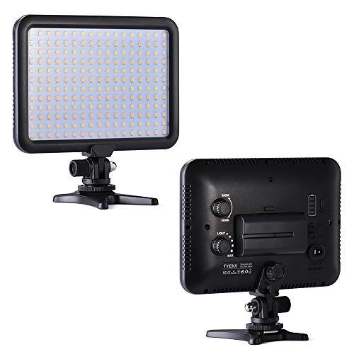 TYCKA Regulable 204 LED Luz de Vídeo Panel, con 2600mAh Batería y Cargador USB, 3200K - 5600K Temperatura de Color, Ultra Fino y Ligero, para cámara videocámara DSLR Canon Nikon Sony