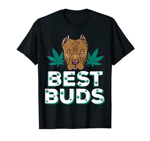Best Buds Weed Pitbull - Perro con hoja de marihuana dorada Camiseta