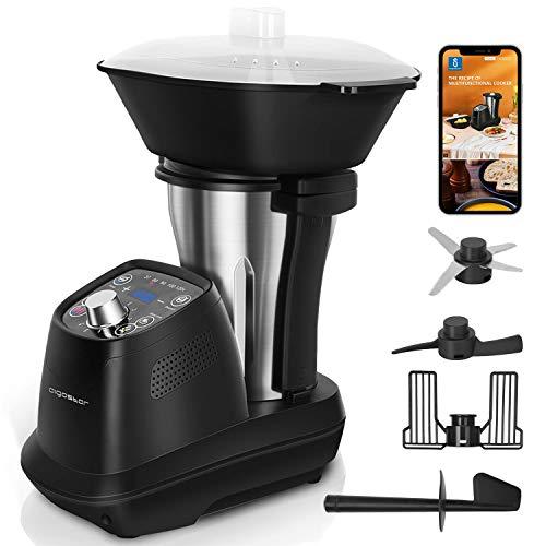 Aigostar Power Cook - Robot de cocina multifunción, 1200W, 12 programas, 36 recetas electrónicas, 6 velocidades, jarra de acero inoxidable de 1,75L apta para lavavajillas, temperatura de 37 a 120 ºC.