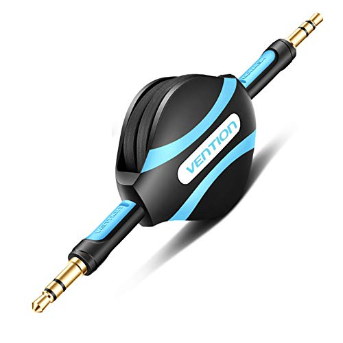Vention Retractable 3.5mm Aux Cable,3.5 Male to Male Stereo Audio Cable for Car,Speaker,iPhone,Android Phones(Black)