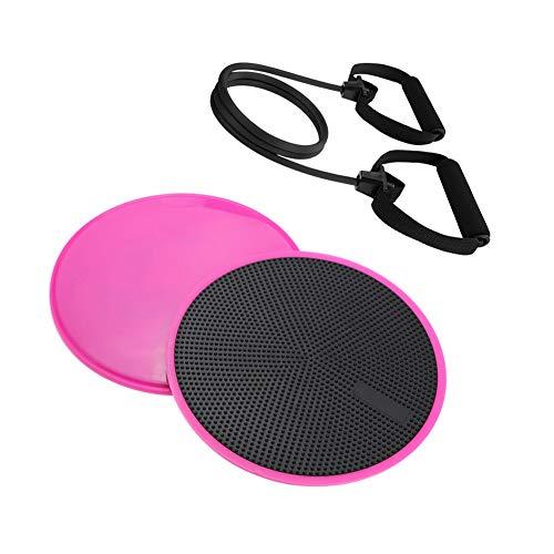 LJBOZ Discos Deslizamiento Core Sliders Fitness, Bandas Elásticas de Entrenamiento, para Ejercicios Abdominales y básicos, Equipo de Ejercicio de Gimnasio en casa30LB-Pink