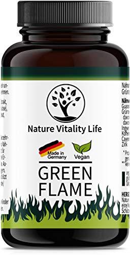 Green Flame - für Frauen und Männer - Komplex aus Grüner Tee, Guarana, Ingwer plus weitere Wirkstoffe - schnell und einfach einzunehmen - 2 Kapseln am Tag - hergestellt in Deutschland