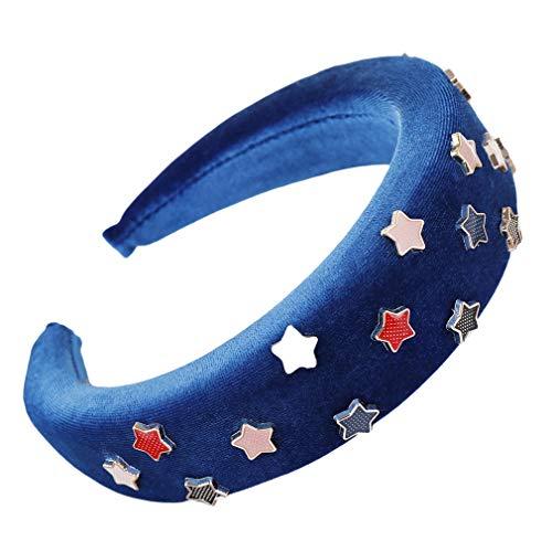 Dreamlulu Multicolore Étoile à Cinq branches Éponge Bandeau Mignon Cheveux Accessoires, Bleu royal