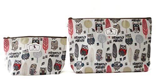 NOVAGO Lot de 2 Pochettes Tailles différentes Fleuries Tissu Plastifié Solide Durable et imperméable (Hibbou)