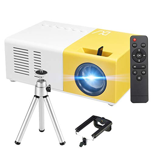 Mini Beamer - 3000 Lumen Heimkino Beamer, Support 1080P Full HD mit 50000 Stunden LED, kompatibel mit TV Stick, HDMI, SD, AV, USB, Tablet, Smartphone Projektor (Gelb)