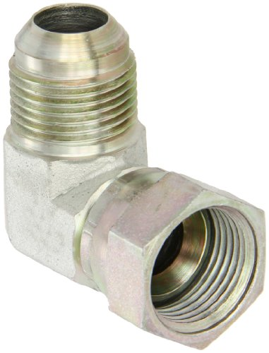 Eaton Aeroquip 2071-12-12S 90 Degree Swivel Nut Elbow, JIC 37 Degree End Types, Carbon Steel, 3/4 JIC(f) x 3/4 JIC(m) End Size, 3/4