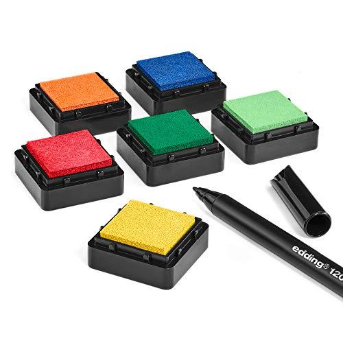 KATINGA Stempelkissen (6er Set) BUNT mit Stift für Fingerabdrücke, zum Basteln und zum kreativen Gestalten (6er BUNT)