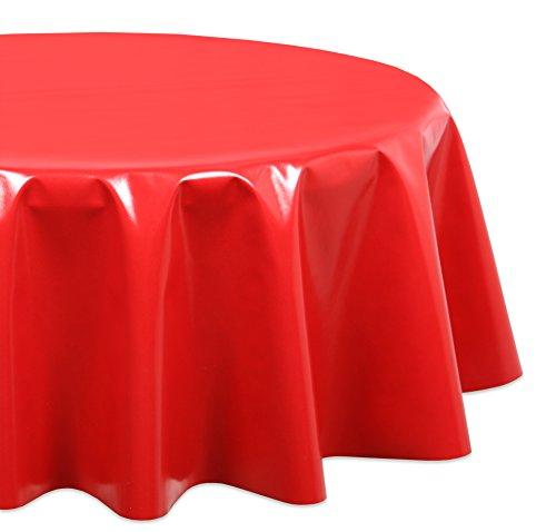 Wachstuchtischdecke OVAL RUND ECKIG Farbe u. Größe wählbar, Tischdecke Wachstuch abwischbar, Uni (Rot Rund 140)
