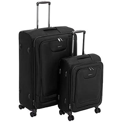 AmazonBasics 2 Piece Expandable Softside Spinner Luggage Suitcase With TSA Lock And Wheels Set - Black