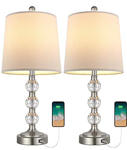 Oneach Moderne USB-Ti, 2 Stück, für Wohnzimmer, Schlafzimmer, gestapelte Kristallkugel Tischlampe mit weißem Trommelschirm 52,1 cm Akzentlampe Nachtti