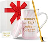 Wowtina Worlds Best Boss Mug The Office Best Boss Gifts for Women Female Ceramic Coffee Mug with Lid and Handle Boss Day Gifts Ideas for Women Her 14 Oz Novelty Tea Mug Microwave and Dishwasher Safe