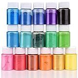 Pigmento de Resina Epoxi - 16 Colores x 10g Mica en polvo Tinte de Resina Epoxi - Colorante de Limo de Grado Cosmético para Fabricación de Jabón Bomba de Baño, Arte de Uñas, Pintura - 160 g Total