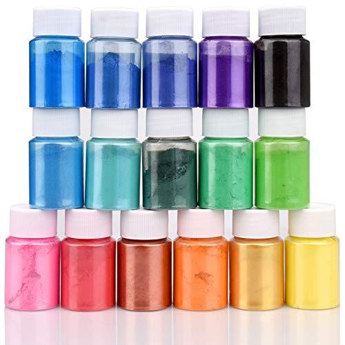 Epoxidharz Farbe - 160g(16er x 10g) Seifen Farben Pigment - Kosmetische Mica Pulver Schleimfarben zur Seifenherstellung - Natürliche Epoxidharz Farbstoff Pigment für Badebomben, Nail Art, Malerei