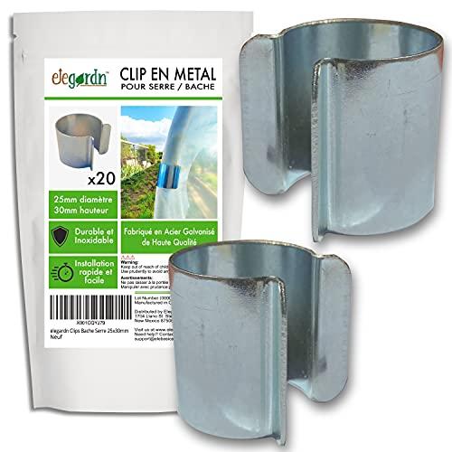 Elegardn Lot de 20 Clips pour Serre 25mm x 30mm Clips pour Serre Tunnel de Jardin bâche Clips en métal avec revêtement Zinc