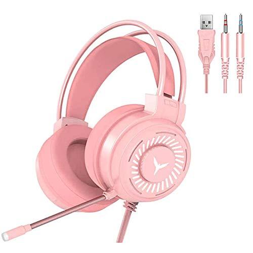 GUANGE Fone de ouvido estéreo 4D para jogos, fones de ouvido para jogos com microfone, fones de ouvido para PC com luz LED colorida e microfone com cancelamento de ruído, fones de ouvido para PC/laptop, rosa