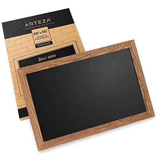 Arteza Pizarra magnética de tiza para paredes, 51 x 76 cm, fácil de montar, marco rústico de madera de pino, letrero de pizarra negra para cocinas, cafeterías, tiendas y eventos especiales