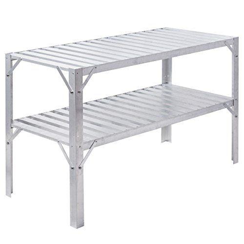 Work Potting Table Workbench Greenhouse Prepare Storage Garage Shelves Aluminum