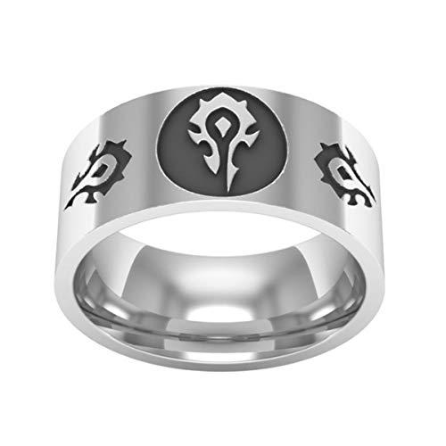 World of Warcraft Game Alliance Und Horde Titanium Steel Herrenring Silber Silber Größe 57 (18.1)